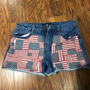 F21 american flag Hugh waist shorts